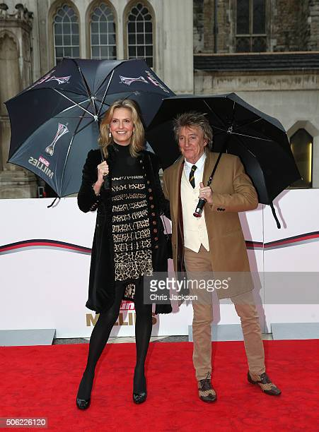 Rod Stewart and Penny Lancaster arrive for The Sun Military Awards at The Guildhall on January 22 2016 in London England