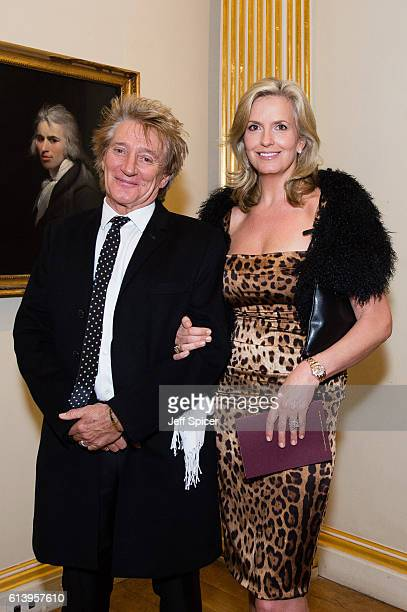 Rod Stewart and Penny Lancaster attend a reception and awards ceremony at Royal Academy of Arts on October 11 2016 in London England