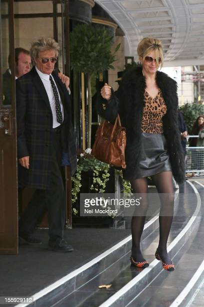 Rod Stewart and Penny Lancaster seen at The Dorchester Hotel on November 9 2012 in London England