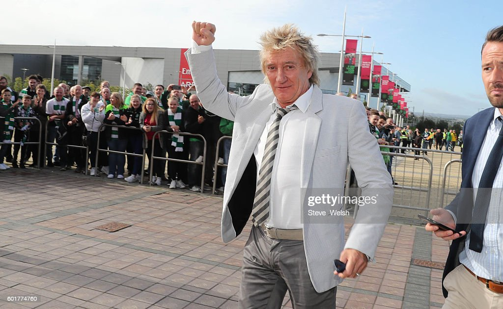 Rod Stewart arrives at Celtic Park before the Ladbrokes Scottish Premiership match between Celtic and Rangers on September 10, 2016 in Glasgow.