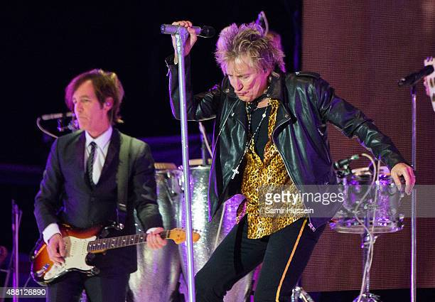 Rod Stewart performs at BBC Radio 2 Live In Hyde Park at Hyde Park on September 13 2015 in London England