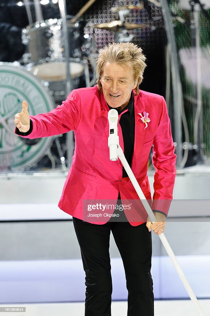 Rod Stewart performs on stage at O2 Arena on September 20, 2013 in London, England.