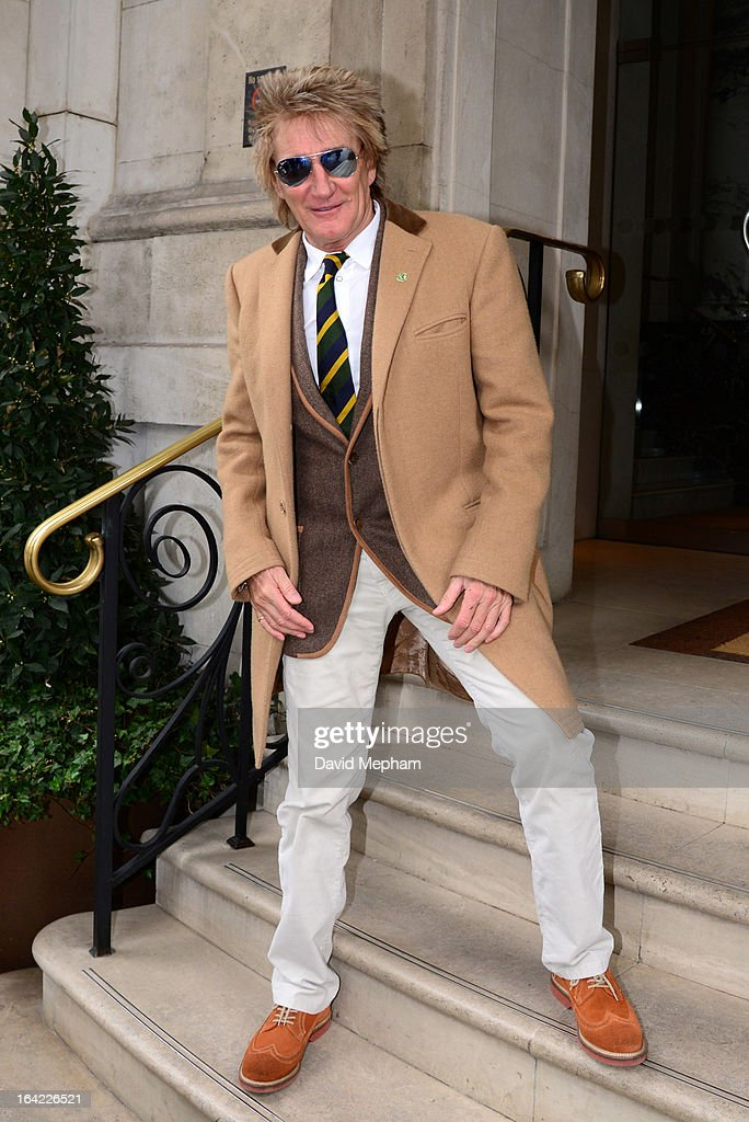 Rod Stewart sighted at BBC Radio and his hotel on March 21, 2013 in London, England.