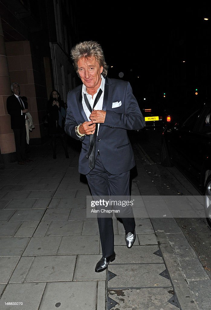 Rod Stewart sighting leaving Cipriani Restaurant mayfair on May 15, 2013 in London, England.