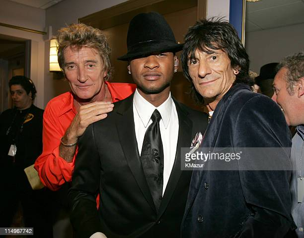 Rod Stewart Usher and Ronnie Wood during Conde Nast Media Group Presents Fashion Rocks 2004 Backstage and Audience at Radio City Music Hall in New...