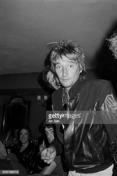 Rod Stewart wearing a leather coat circa 1970 New York