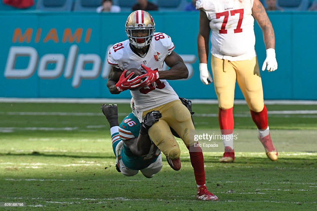 Rod Streater #81 of the San Francisco 49ers runs upfield after making a reception in the 4th quarter against the Miami Dolphins at Hard Rock Stadium on November 27, 2016 in Miami Gardens, Florida.