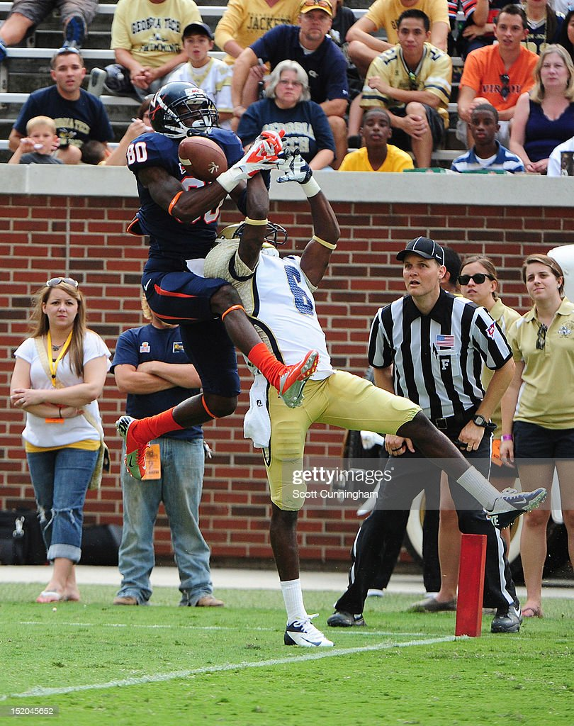 Rod Sweeting #6 of the Georgia Tech Yellow Jackets breaks up a pass intended for Adrian Gamble #80 of the Virginia Cavaliers at Bobby Dodd Stadium on September 15, 2012 in Atlanta, Georgia.