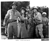 Rod Taylor Anne Heywood and Jean Sorel lead a small safari across africa in a scene from the film 'Trader Horn' 1973