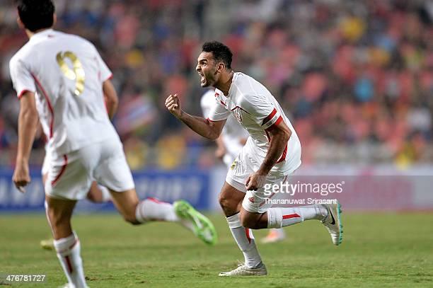 Roda Antar of Lebanon celebrates his goal during the AFC Asian Cup 2015 Group B Qualifier match between Thailand and Lebanon at Rajamangala Stadium...