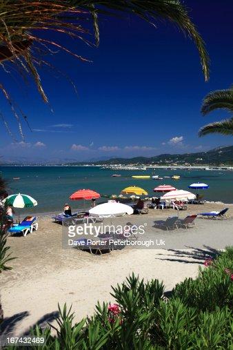 Roda resort beach, Corfu : Foto de stock