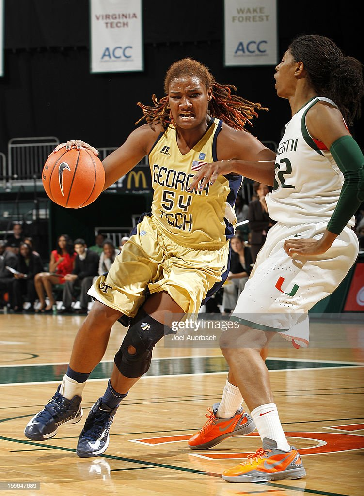 Roddreka Rogers #54 of the Georgia Tech Yellow Jackets goes to the basket against Morgan Stroman #32 of the Miami Hurricanes on January 17, 2013 at the BankUnited Center in Coral Gables, Florida. Miami defeated Georgia Tech 71-65.