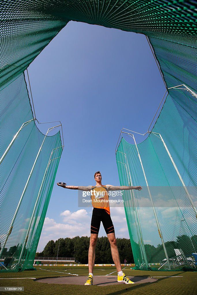Roddy De Wolff of Netherlands competes in the Boys 1.5kg Discus during the European Youth Olympic Festival held at the Athletics Track Maarschalkersweerd on July 15, 2013 in Utrecht, Netherlands.