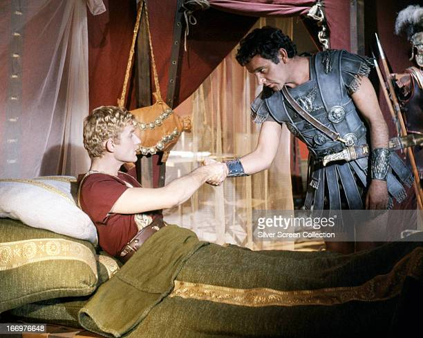 Roddy McDowall as Octavian/Ceasar Augustus and Richard Burton as Mark Antony in 'Cleopatra' directed by Joseph L Mankiewicz 1963