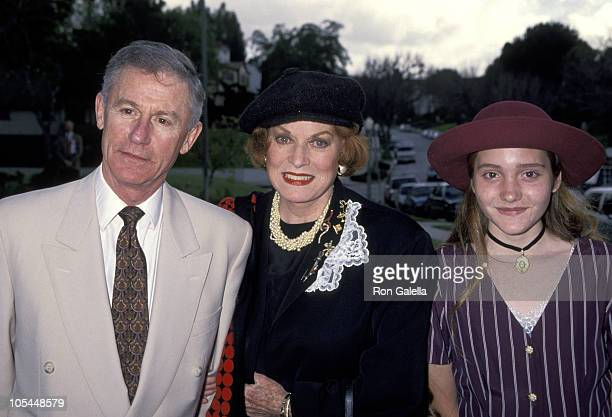 Roddy McDowall Maureen O' Hara and neice during British Academy Tea Party March 19 1994 at Home of British Consul General Baker Bates in Los Angeles...