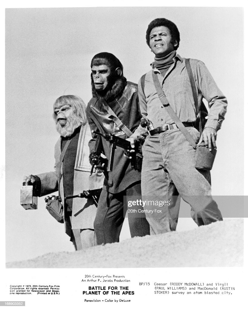 Roddy McDowall Paul Williams and Austin Stoker survey an atom blasted city the film 'Battle For The Planet Of The Apes' 1973
