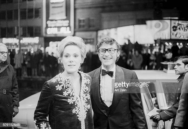 Roddy McDowall with Tammy Grimes in formal dress circa 1970 New York