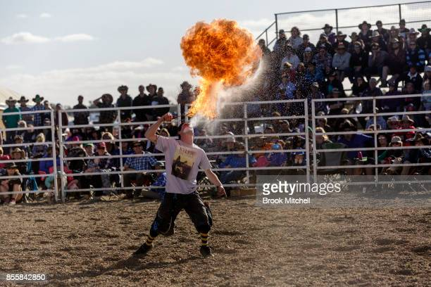 Rodeo Clown knicknamed 'Kelpie' spits fire as part of a break in the action during the Deni Rodeo at the 2017 Deni Ute Muster on September 30 2017 in...