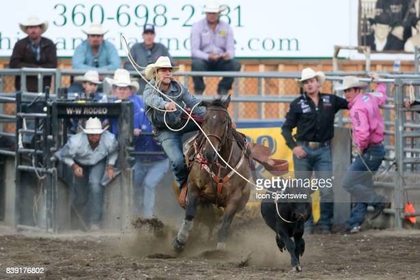 Rodeo cowboy Clay Smith from Broken Bow OK scored a 87 time in the Tie Down Roping competition on August 24 2017 in Bremerton WA at the Kitsap County...