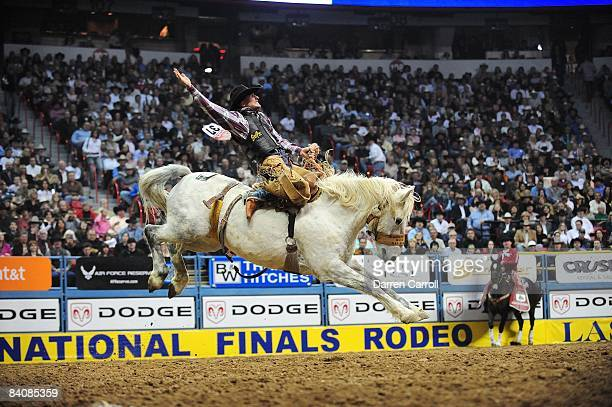 Wrangler National Finals Rodeo Anthony Bello in action during Saddle Bronc Riding at Thomas Mack Center Las Vegas NV CREDIT Darren Carroll