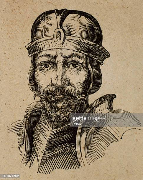Roderic Visigothic King of Hispania for a brief period between 710712 Portrait Engraving