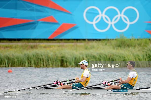 Roderick Chisholm and Thomas Gibson of Australia compete during the Men's Double Sculls semi final on Day 5 of the London 2012 Olympic Games at Eton...