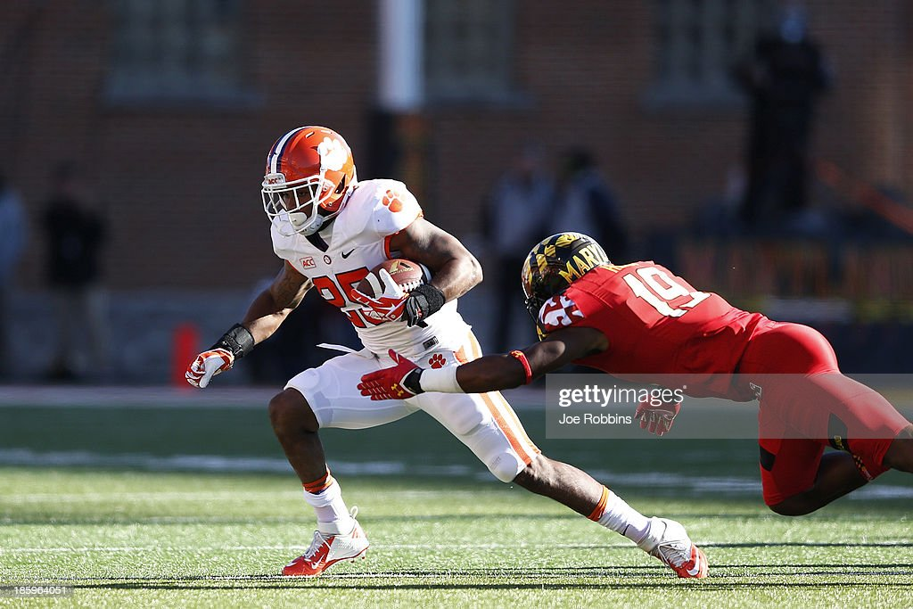 Roderick McDowell #25 of the Clemson Tigers runs with the ball against the Maryland Terrapins during the game at Byrd Stadium on October 26, 2013 in College Park, Maryland.