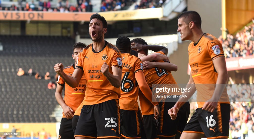 Roderick Miranda of Wolverhampton Wanderers celebrates after Alfred NDiaye of Wolverhampton Wanderers scored a goal to make it 2-1 during the Sky Bet Championship match between Wolverhampton and Barnsley at Molineux on September 23, 2017 in Wolverhampton, England.