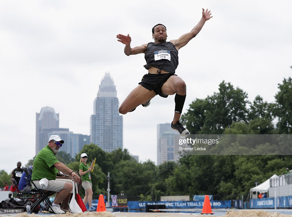 Roderick Townsend competes in the men's long jump preliminaries for the 2016 U.S. Paralympics Trials in Track and Field at Irwin Belk Complex at Johnson C. Smith University on July 1, 2016 in Charlotte, North Carolina.