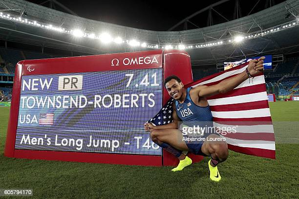 Roderick TownsendRoberts of United States celebrates de victory and the paralympic record after the Men's Long Jump T47 final at Olympic Stadium on...