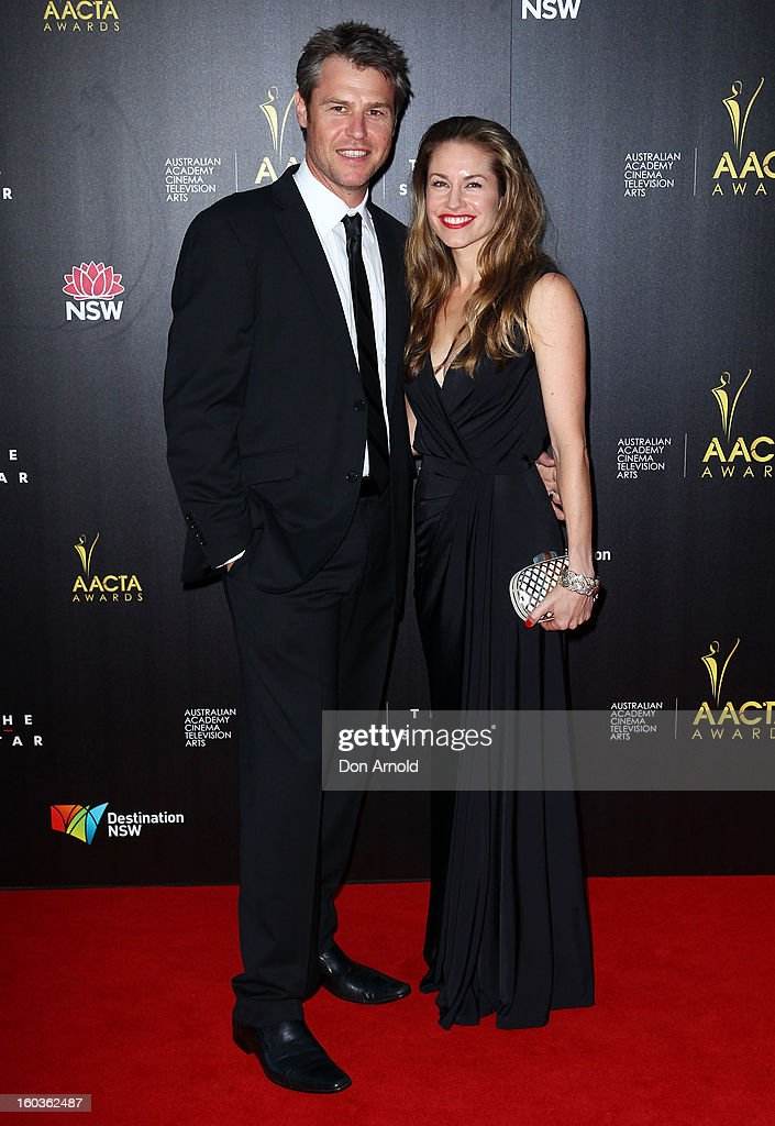 Rodger Corser and Renae Berry arrives for the 2nd Annual AACTA Awards at The Star on January 30, 2013 in Sydney, Australia.
