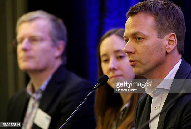 Rodger Novak Chief Executive Officer of CRISPR Therapeutics right takes part in a panel discussion during the CRISPR Congress at the Hyatt Regency...