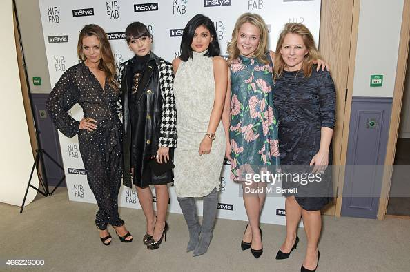 Rodial founder Maria Hatzistefanis Zara Martin Kylie Jenner Poppy Jamie and InStyle editor Charlotte Moore attend the NIPFAB InStyle Tea Party at The...
