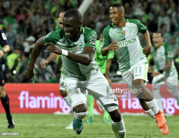 Rodin Quiñones of Atletico Nacional celebrates after scoring the fifth goal of his team during the Final second leg match between Atletico Nacional...