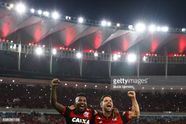 Rodinei and Diego of Flamengo celebrate the victory after a match between Flamengo and Botafogo part of Copa do Brasil SemiFinals 2017 at Maracana...