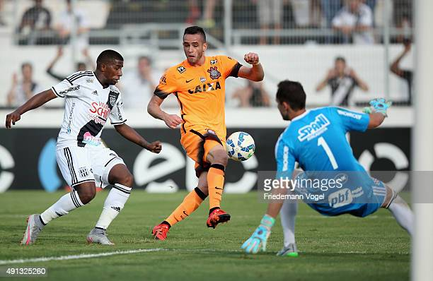 Rodinei and Marcelo Lomba of Ponte Preta fights for the ball with Renato Augusto of Corinthians during the match between Ponte Preta and Corinthians...