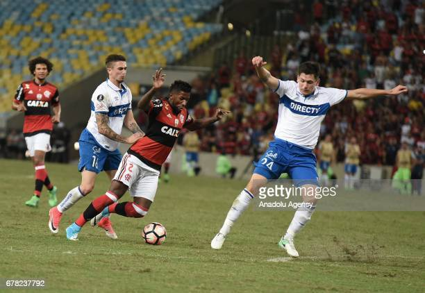 Rodinei Flamengo of Flamengo in action against Ricardo Noil of Catholic University during Copa Libertadores of America match between Flamengo and...