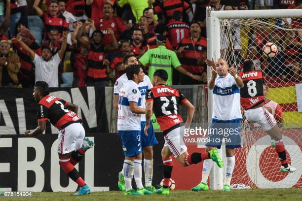 Rodinei of Brazil's Flamengo celebrates after scoring the first goal against Chile's Universidad Catolica during their Copa Libertadores 2017...