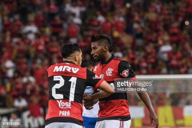 Rodinei of Brazil's Flamengo celebrates with teammate Para after scoring the first goal against Chile's Universidad Catolica during their Copa...