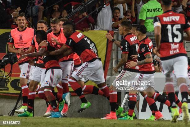 Rodinei of Brazil's Flamengo celebrates with teammates after scoring the first goal against Chile's Universidad Catolica during their Copa...