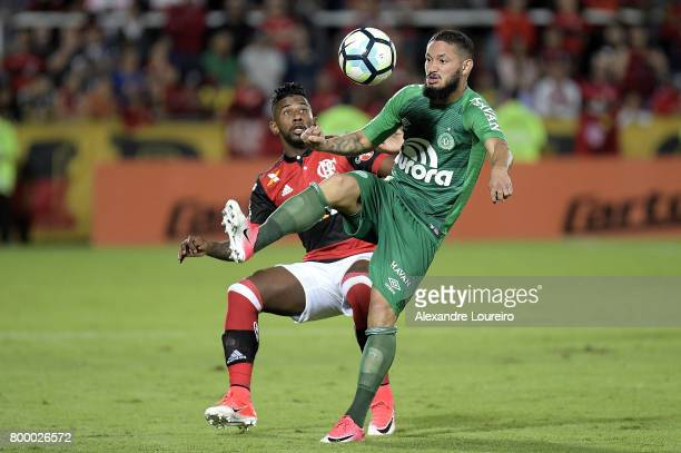 Rodinei of Flamengo battles for the ball with Arthur Caikei of Chapecoense during the match between Flamengo and Chapecoense as part of Brasileirao...