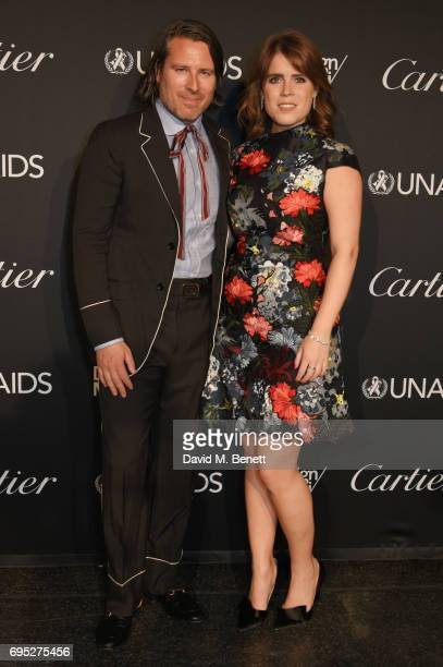 Rodman Primack Design Miami/ Basel chief creative officer and Princess Eugenie of York attend the UNAIDS Gala during Design Miami / Basel 2017 on...