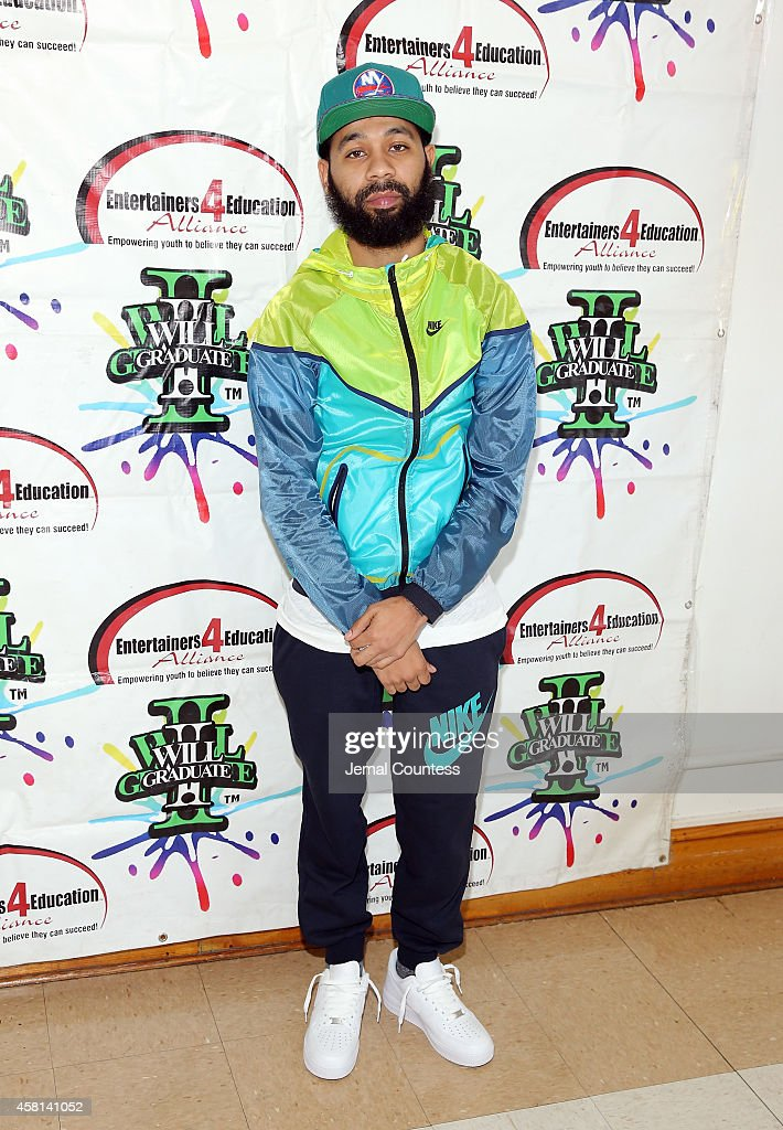 Rodney 'Bucks' Charlemagne poses for a photo at the 'I Will Graduate 2014' Pep Rally at the Bed-Stuy Multi-Service Center on October 30, 2014 in New York City.