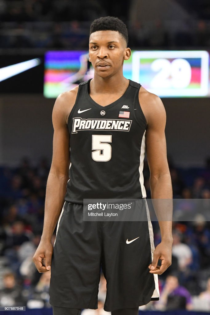 Rodney Bullock #5 of the Providence Friars looks on during a college basketball game against the DePaul Blue Demons at Wintrust Arena on January 12, 2018 in Chicago, Illinois. The Friars won 71-64.