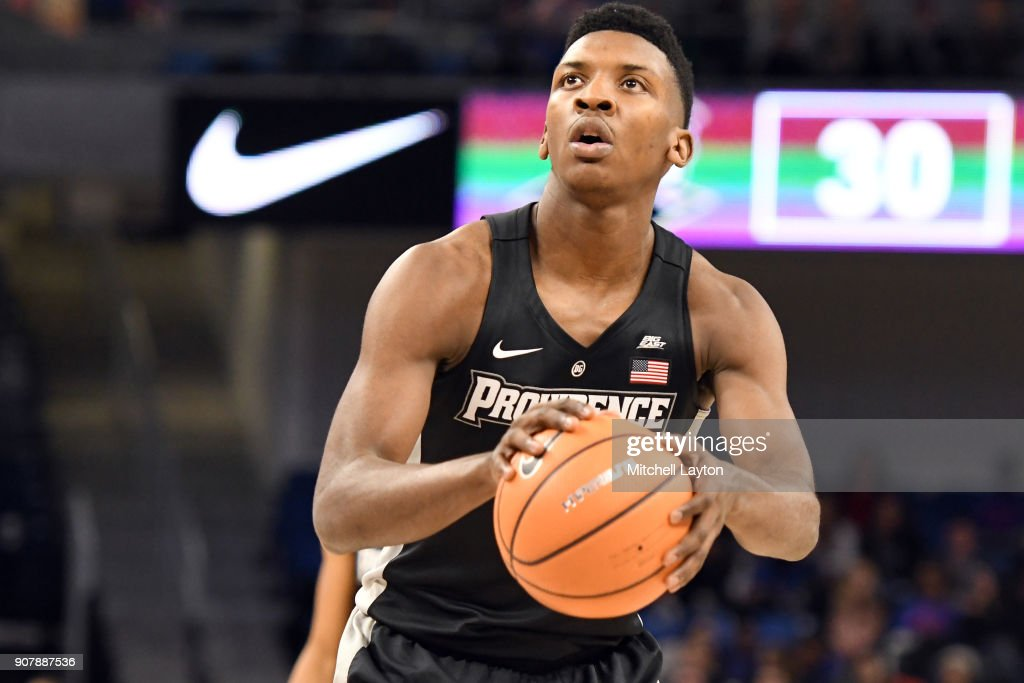 Rodney Bullock #5 of the Providence Friars takes a foul shot during a college basketball game against the DePaul Blue Demons at Wintrust Arena on January 12, 2018 in Chicago, Illinois. The Friars won 71-64.