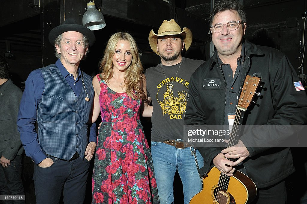 Rodney Crowell, Ashley Monroe, Jason Aldean and Vince Gill attend the All For the Hall New York concert benefiting the Country Music Hall of Fame at Best Buy Theater on February 26, 2013 in New York City.