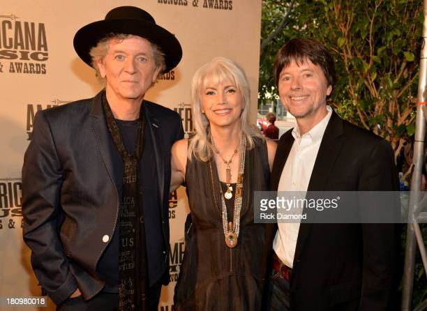 Rodney Crowell Emmy Lou Harris and filmmaker Ken Burns attend the 12th Annual Americana Music Honors And Awards Ceremony Presented By Nissan on...
