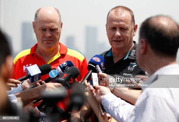 Rodney Eade Senior Coach of the Suns and Ken Hinkley Senior Coach of the Power address the media during the Port Adelaide Power and Gold Coast Suns...