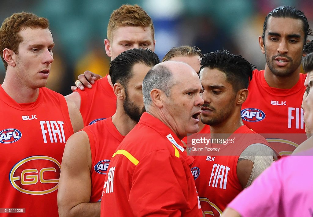 Rodney Eade the coach of the Suns talks to his players during the round 14 AFL match between the Hawthorn Hawks and the Gold Coast Suns at Aurora Stadium on June 26, 2016 in Launceston, Australia.