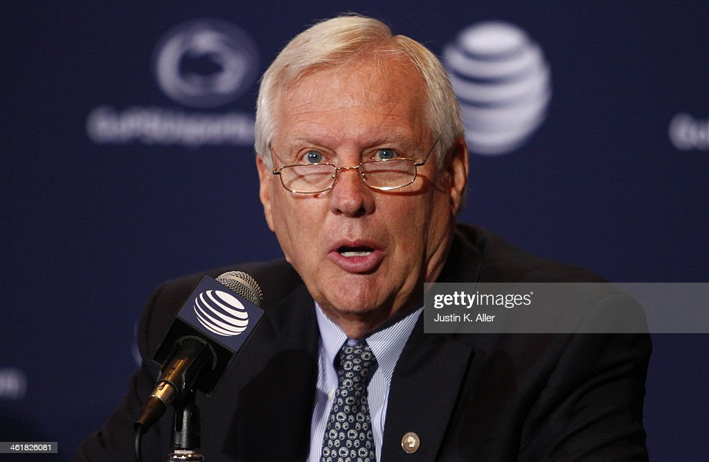 Rodney Erickson, President of The Pennsylvania State University addresses the media on January 11, 2014 at Beaver Stadium in State College, Pennsylvania.